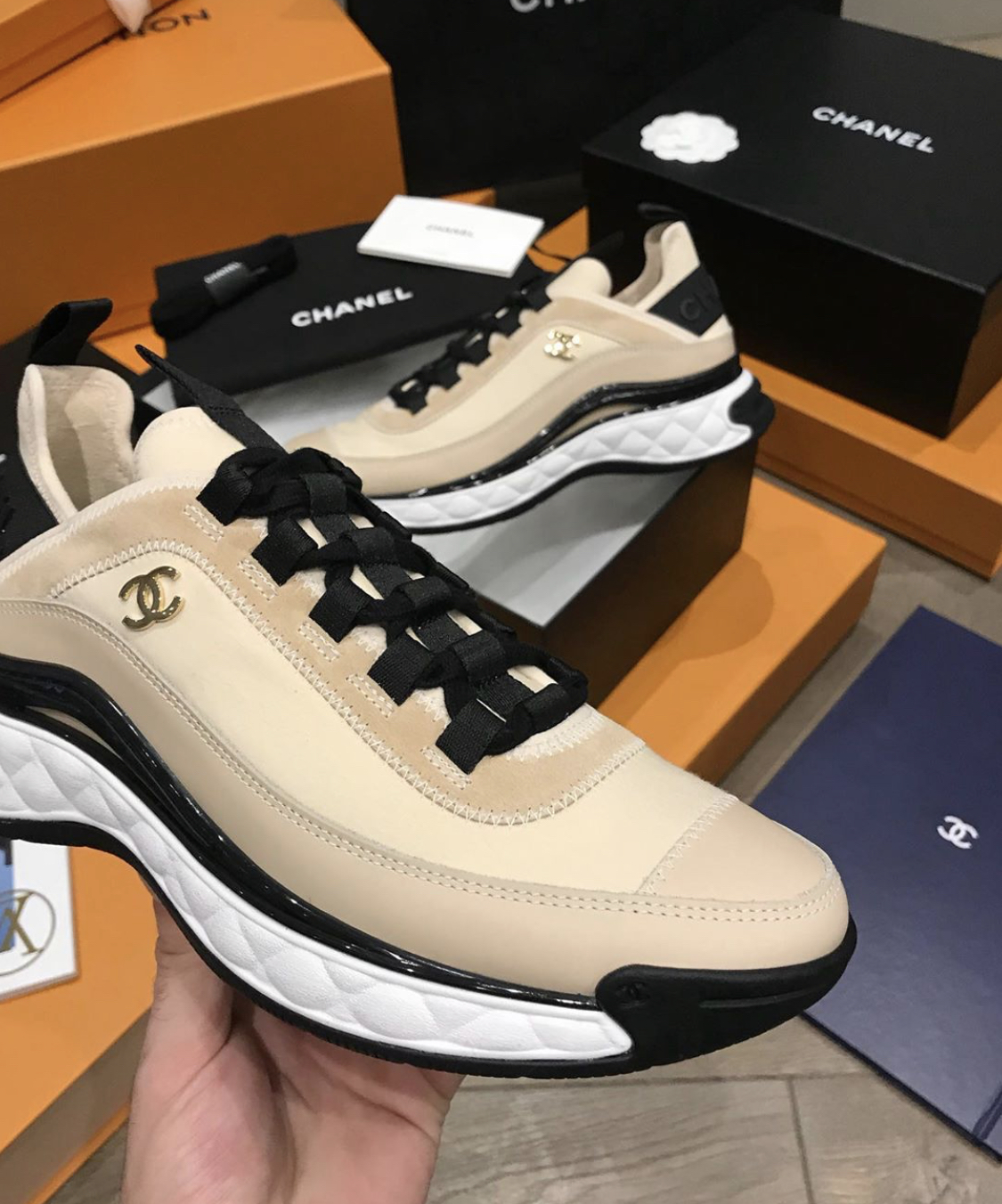 Chanel Unisex Beige Sneaker